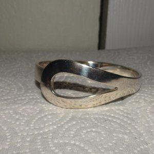 Silver Tone Modernist Bangle Bracelet
